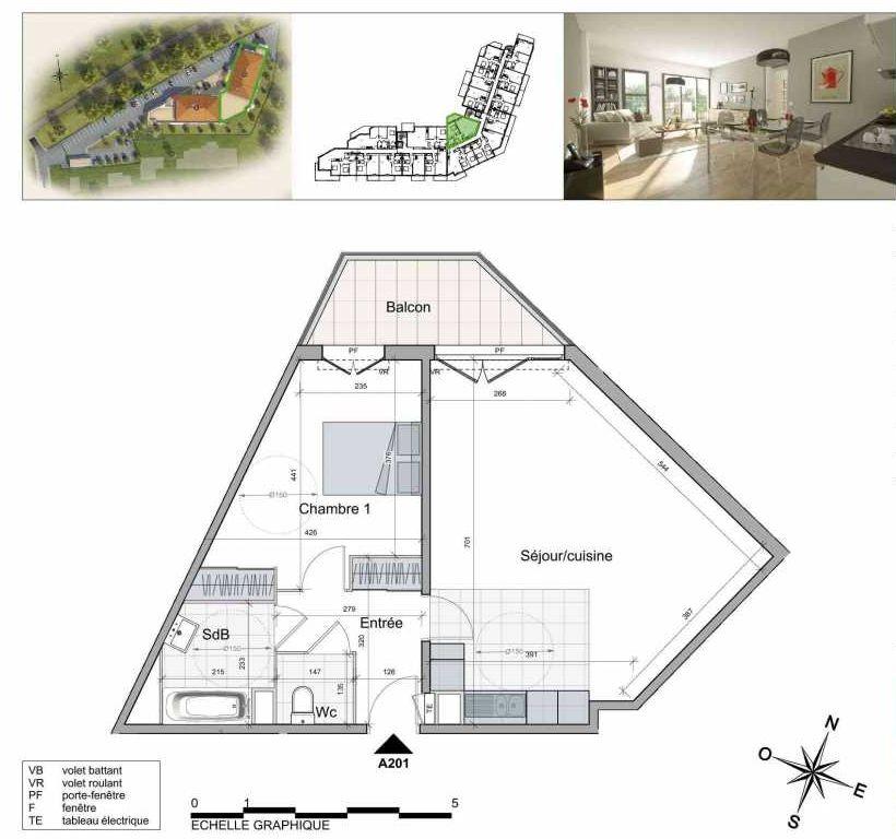 Plan A201, appartement neuf type T2 au 2ème étage, orienté Nord faisant 60m² du programme neuf TOULON ESTEREL à Toulon.