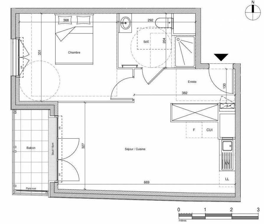Plan A202, appartement neuf type T2 au Rez de chaussée, faisant 44m² du programme neuf 12 Liberty à Chennevières-sur-Marne.