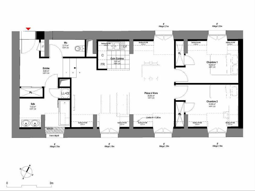 Plan A202, appartement neuf type T3 au 2ème étage, orienté Sud faisant 75m² du programme neuf 1708 à Fontainebleau.