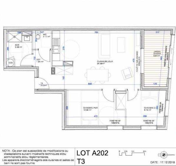 Plan A202, appartement neuf type T3 au 2ème étage, orienté Nord faisant 76m² du programme neuf L'ESCAPADE à Le Pré-Saint-Gervais.