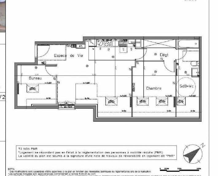 Plan A202, appartement neuf type T2 au 2ème étage, orienté Sud faisant 53m² du programme neuf LE HAMEAU DU ROI à Le Mesnil-le-Roi.