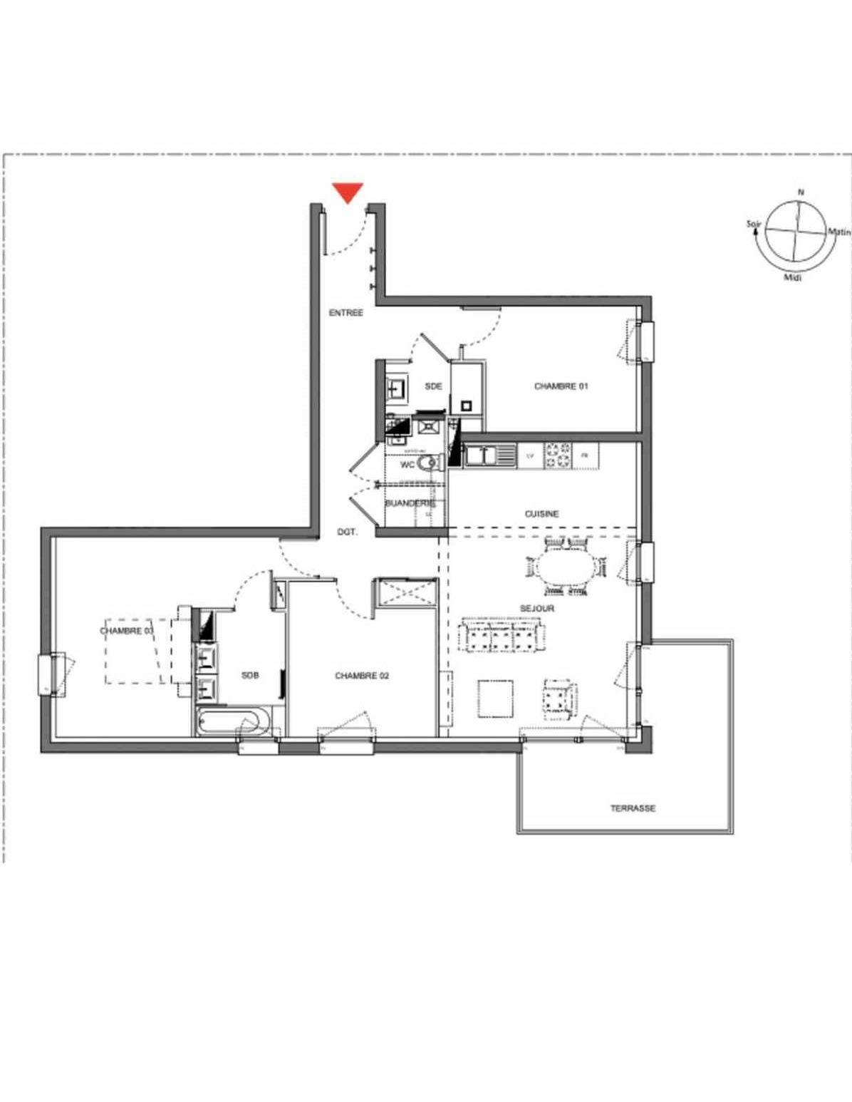 Plan A202, appartement neuf type T4 au 2ème étage, orienté Sud faisant 90m² du programme neuf Les Demeures d'Henriville à Amiens.