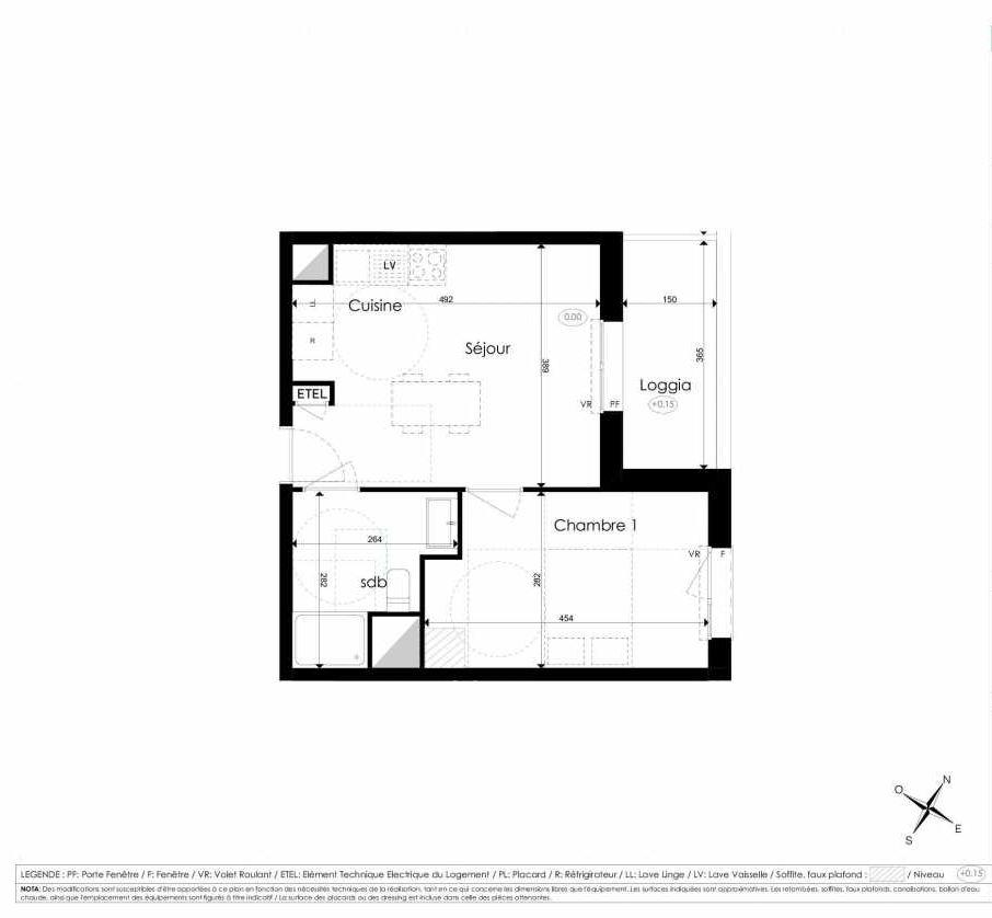 Plan A202, appartement neuf type T2 au 2ème étage, faisant 36m² du programme neuf Les Jardins d'Arc à Amiens.