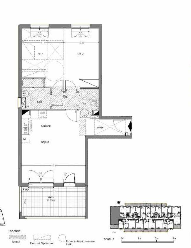 Plan A202, appartement neuf type T3 au 2ème étage, orienté Sud faisant 63m² du programme neuf Loderi à Bormes-les-Mimosas.