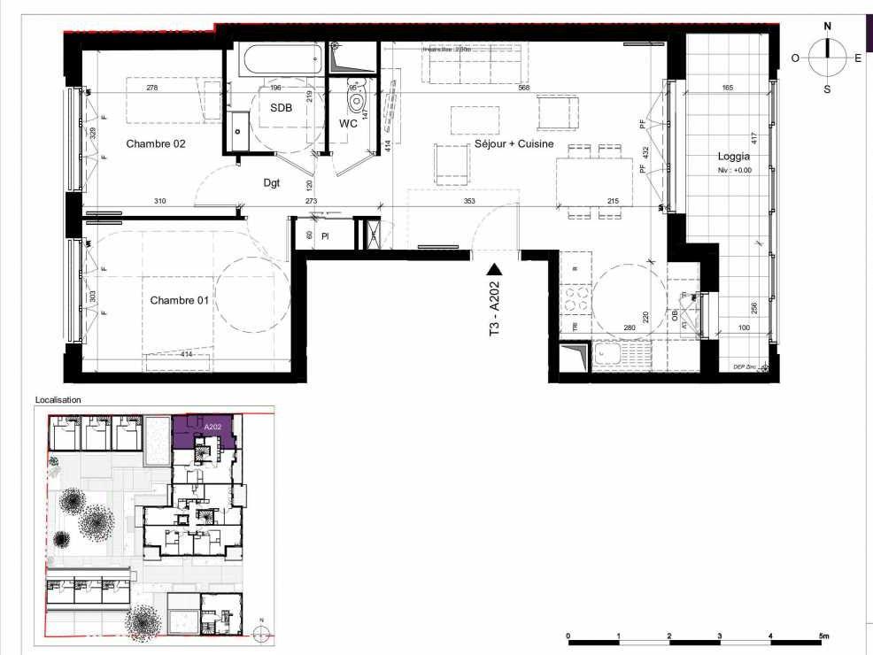 Plan A202, appartement neuf type T3 au 2ème étage, orienté Est faisant 62m² du programme neuf SESAME à Rennes.