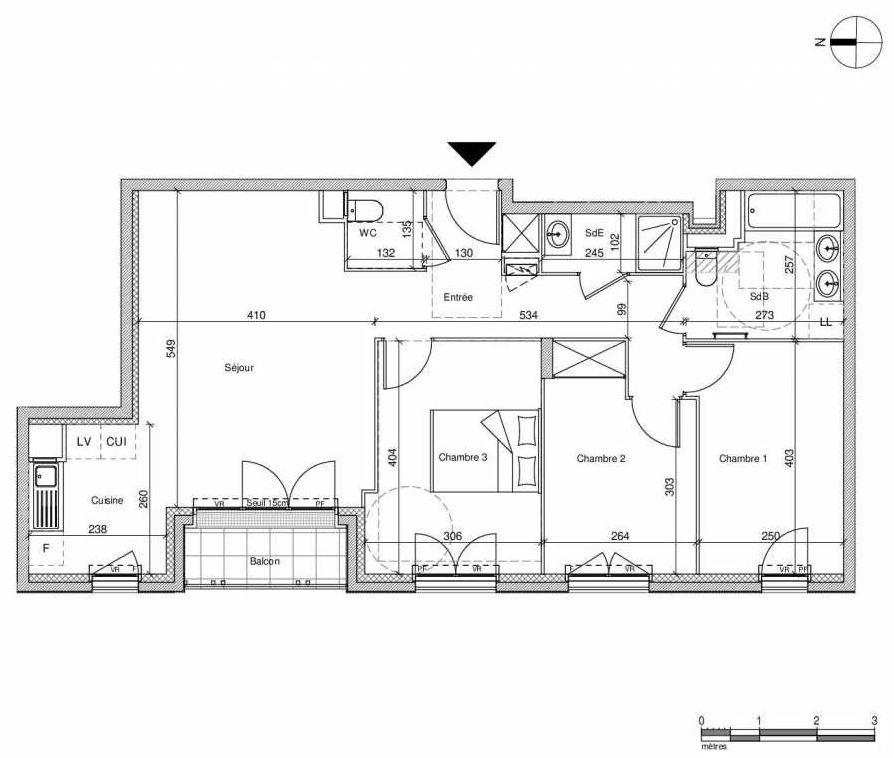 Plan A203, appartement neuf type T4 au Rez de chaussée, faisant 77m² du programme neuf 12 Liberty à Chennevières-sur-Marne.