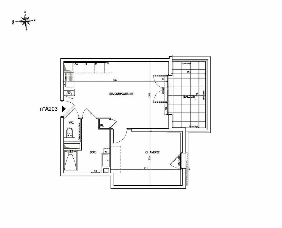 Plan A203, appartement neuf type T2 au 2ème étage, orienté Nord faisant 42m² du programme neuf Coeur Mougins - Jardins des Sens et Jardins en Vue à Mougins.