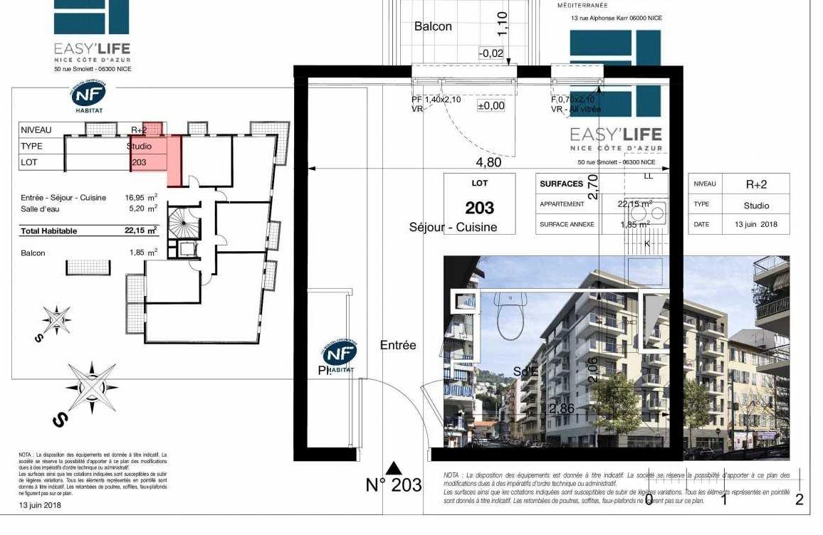 Plan A203, appartement neuf type T1 au 2ème étage, orienté Ouest faisant 22m² du programme neuf Easy Life à Nice.