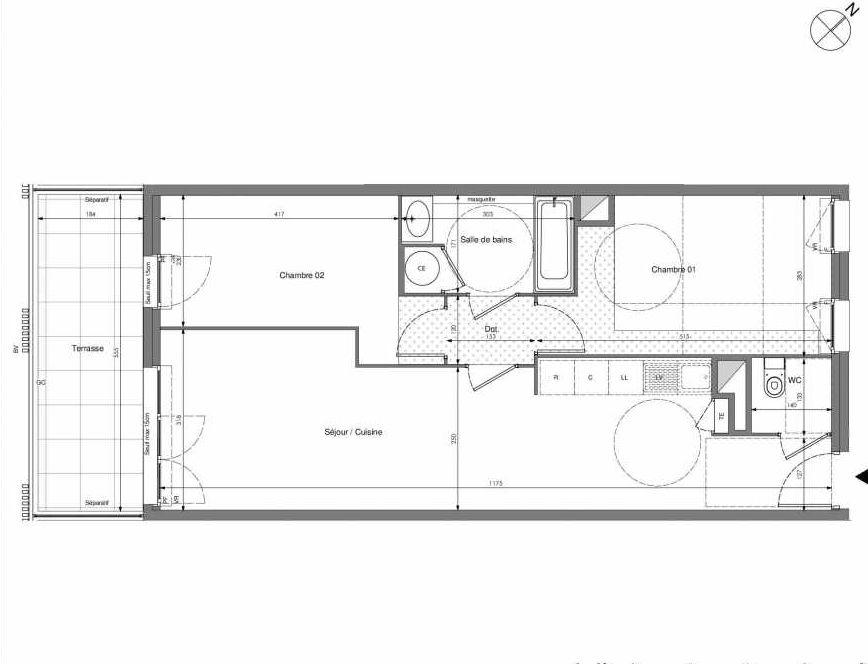 Plan A203, appartement neuf type T3 au 2ème étage, orienté Sud faisant 62m² du programme neuf Impulsion à Marseille.