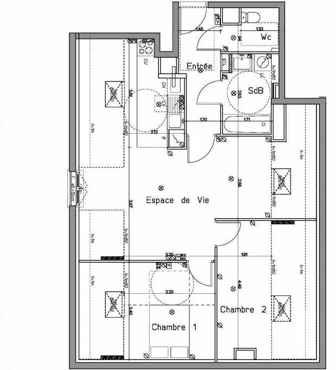 Plan A203, appartement neuf type T3 au 2ème étage, orienté Sud faisant 61m² du programme neuf LE HAMEAU DU ROI à Le Mesnil-le-Roi.