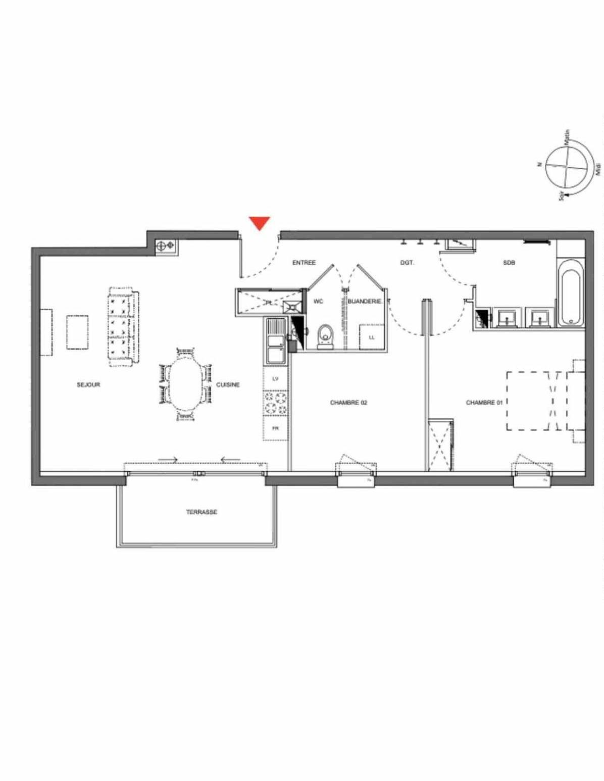 Plan A203, appartement neuf type T3 au 2ème étage, orienté Ouest faisant 70m² du programme neuf Les Demeures d'Henriville à Amiens.