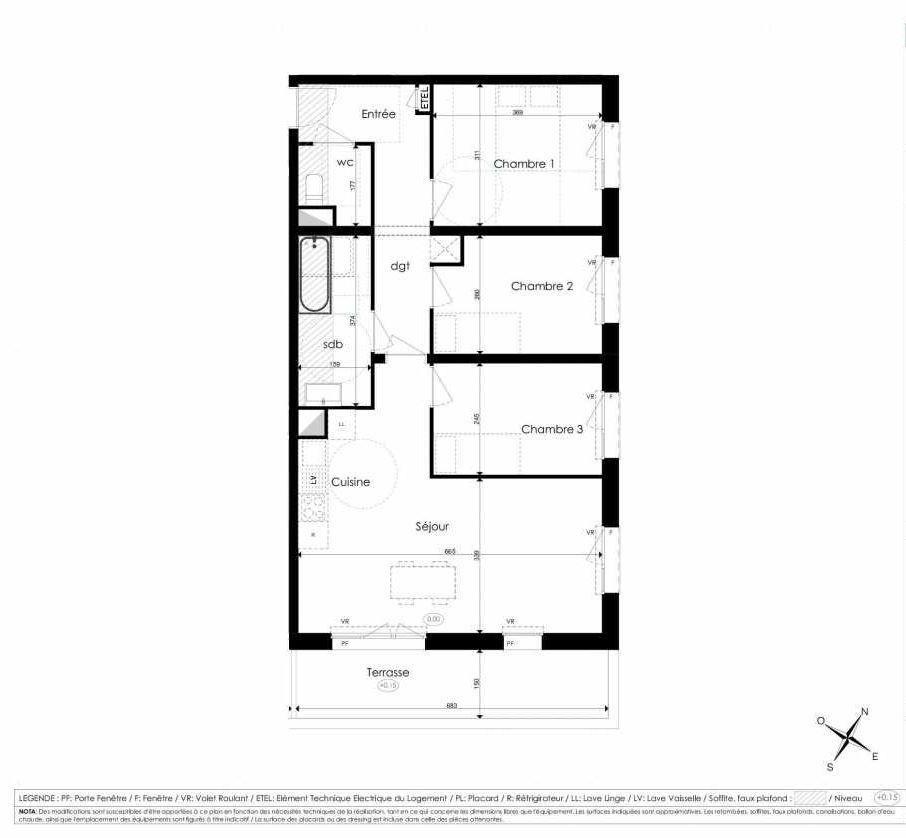 Plan A203, appartement neuf type T4 au 2ème étage, faisant 75m² du programme neuf Les Jardins d'Arc à Amiens.