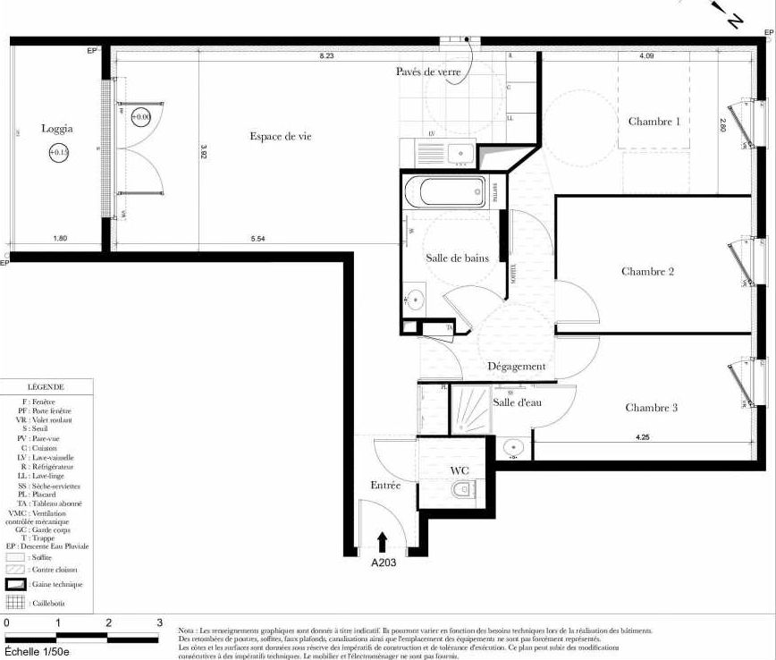Plan A203, appartement neuf type T4 au 2ème étage, orienté Sud faisant 81m² du programme neuf Symbiose à Bezons.