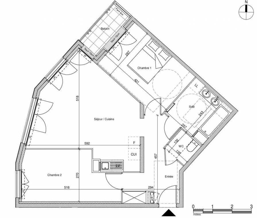 Plan A204, appartement neuf type T3 au Rez de chaussée, faisant 64m² du programme neuf 12 Liberty à Chennevières-sur-Marne.