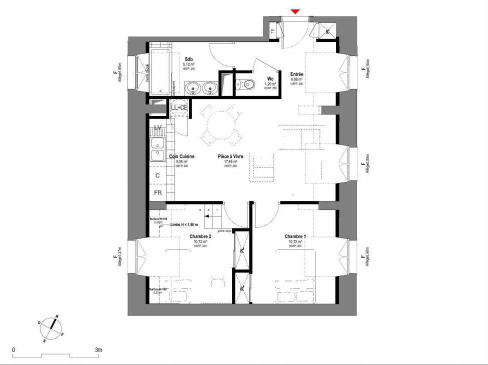 Plan A204, appartement neuf type T3 au 2ème étage, orienté Ouest faisant 57m² du programme neuf 1708 à Fontainebleau.