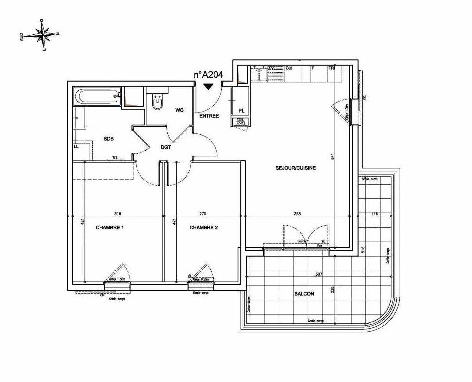 Plan A204, appartement neuf type T3 au 2ème étage, orienté Est faisant 62m² du programme neuf Coeur Mougins - Jardins des Sens et Jardins en Vue à Mougins.
