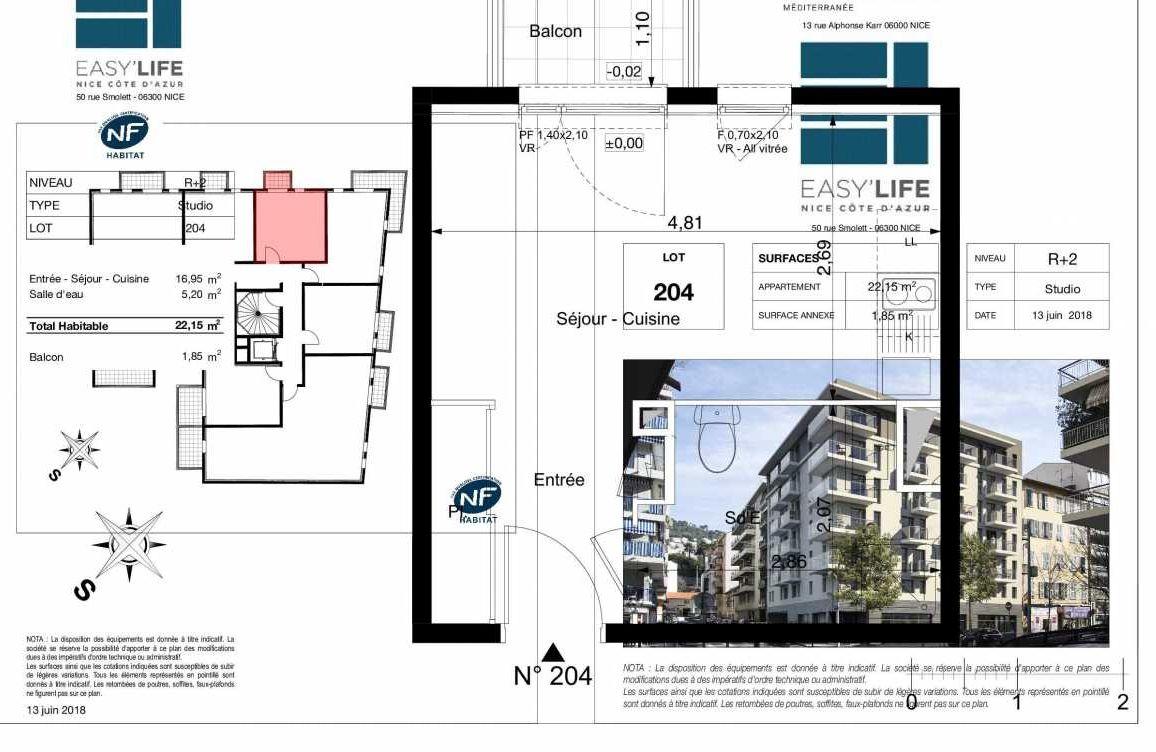 Plan A204, appartement neuf type T1 au 2ème étage, orienté Ouest faisant 22m² du programme neuf Easy Life à Nice.