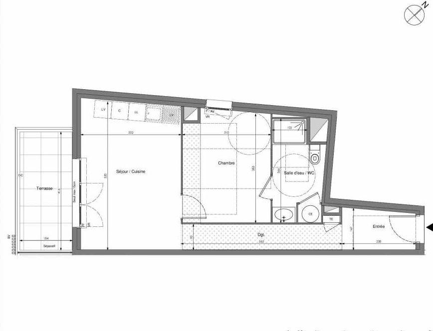 Plan A204, appartement neuf type T2 au 2ème étage, orienté Sud faisant 45m² du programme neuf Impulsion à Marseille.