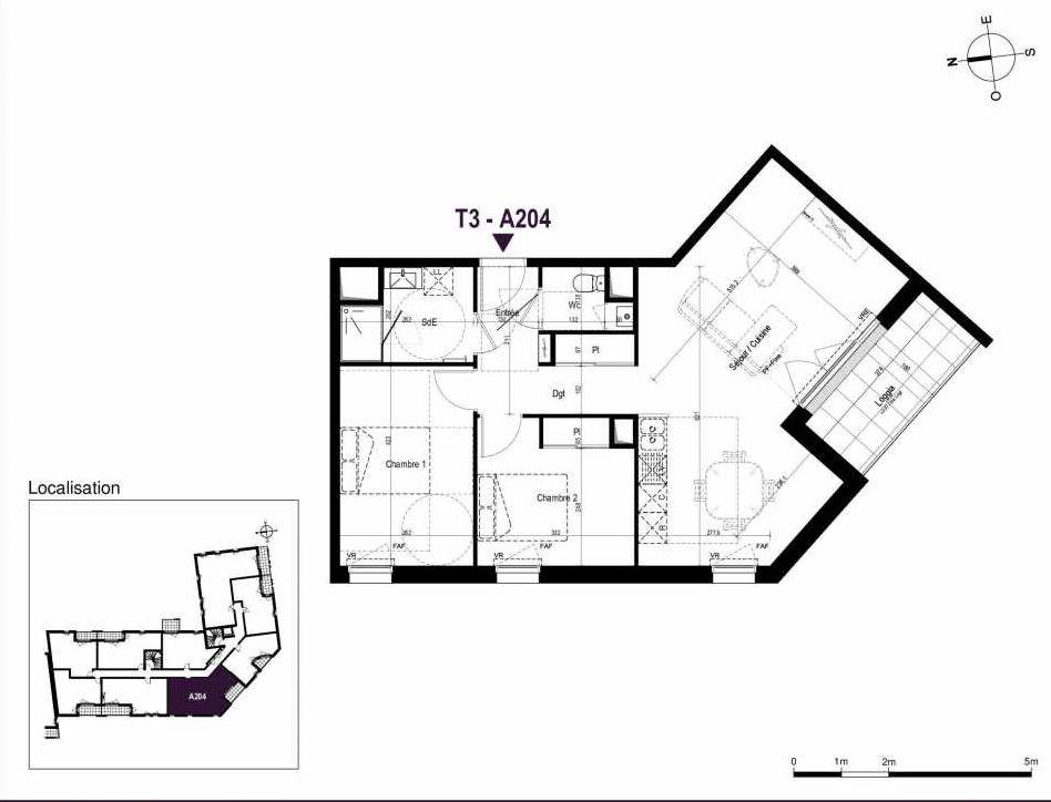 Plan A204, appartement neuf type T3 au 2ème étage, orienté Sud faisant 67m² du programme neuf LA TRAVERSEE à Saint-Nazaire.