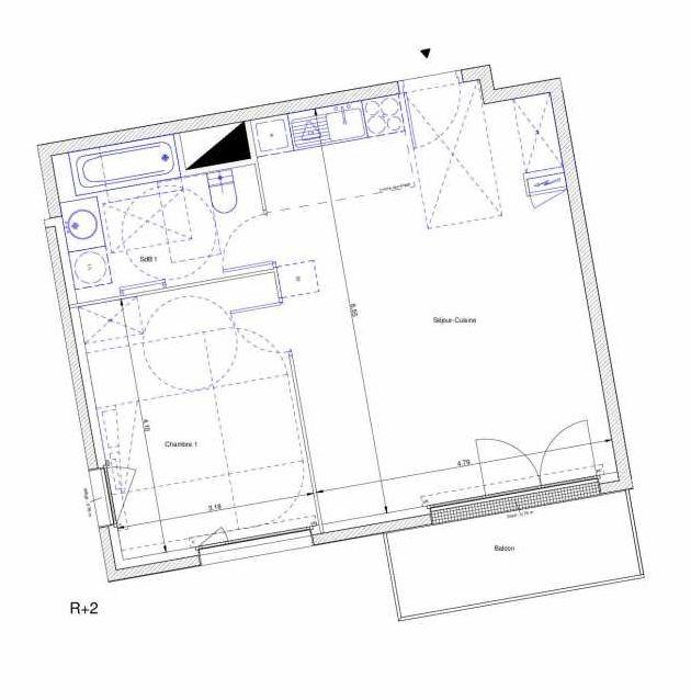 Plan recadré du lot neuf du programme neuf Le Hameau du Chêne