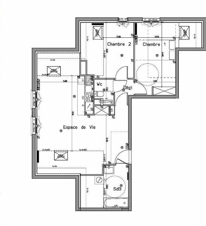 Plan A204, appartement neuf type T3 au 2ème étage, orienté Sud faisant 61m² du programme neuf LE HAMEAU DU ROI à Le Mesnil-le-Roi.
