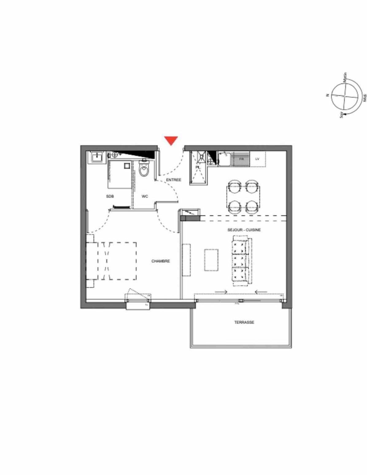 Plan A204, appartement neuf type T2 au 2ème étage, orienté Ouest faisant 40m² du programme neuf Les Demeures d'Henriville à Amiens.
