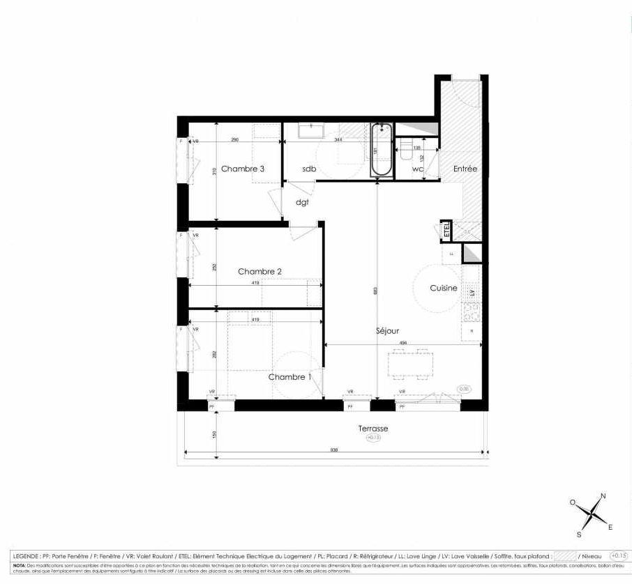 Plan A204, appartement neuf type T4 au 2ème étage, faisant 78m² du programme neuf Les Jardins d'Arc à Amiens.