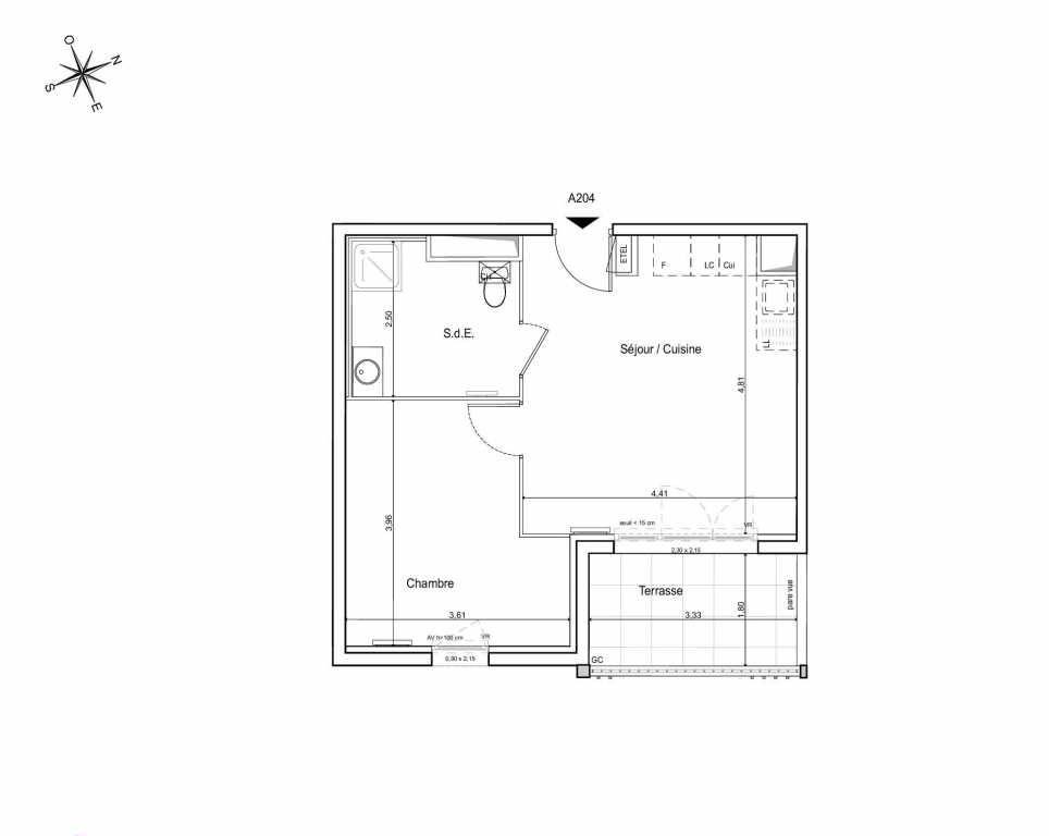Plan A204, appartement neuf type T2 au 2ème étage, orienté Sud faisant 39m² du programme neuf LES JARDINS DU CANAL à Arles.