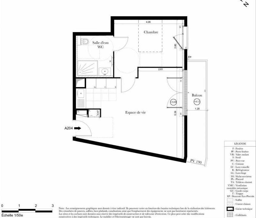 Plan A204, appartement neuf type T2 au 2ème étage, orienté Nord faisant 44m² du programme neuf Symbiose à Bezons.