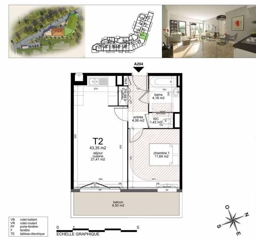 Plan A204, appartement neuf type T2 au 2ème étage, orienté Sud faisant 43m² du programme neuf TOULON ESTEREL à Toulon.