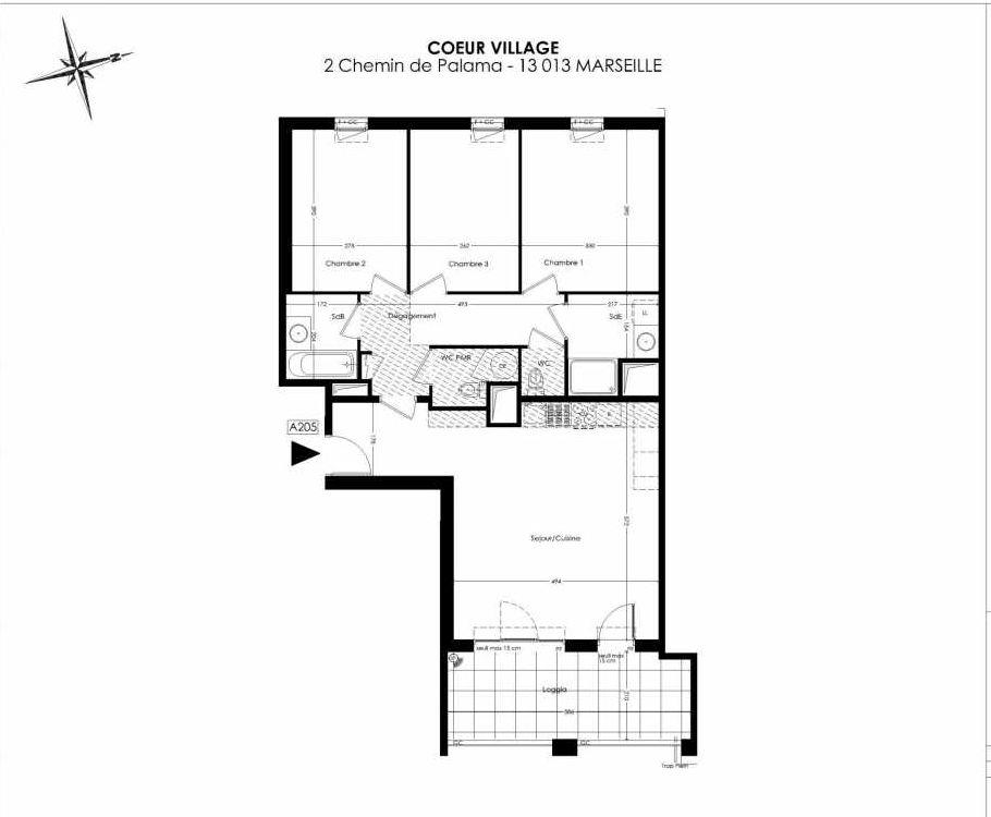 Plan A205, appartement neuf type T4 au 2ème étage, orienté Est faisant 86m² du programme neuf Coeur Village à Marseille.