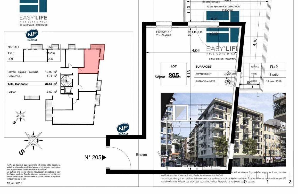 Plan A205, appartement neuf type T1 au 2ème étage, orienté Ouest faisant 26m² du programme neuf Easy Life à Nice.
