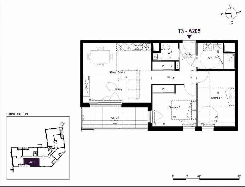 Plan A205, appartement neuf type T3 au 2ème étage, orienté Ouest faisant 60m² du programme neuf LA TRAVERSEE à Saint-Nazaire.