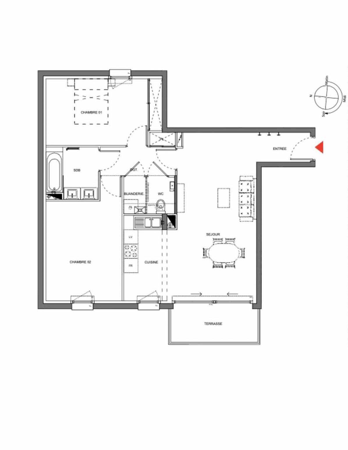 Plan A205, appartement neuf type T3 au 2ème étage, orienté Est faisant 73m² du programme neuf Les Demeures d'Henriville à Amiens.