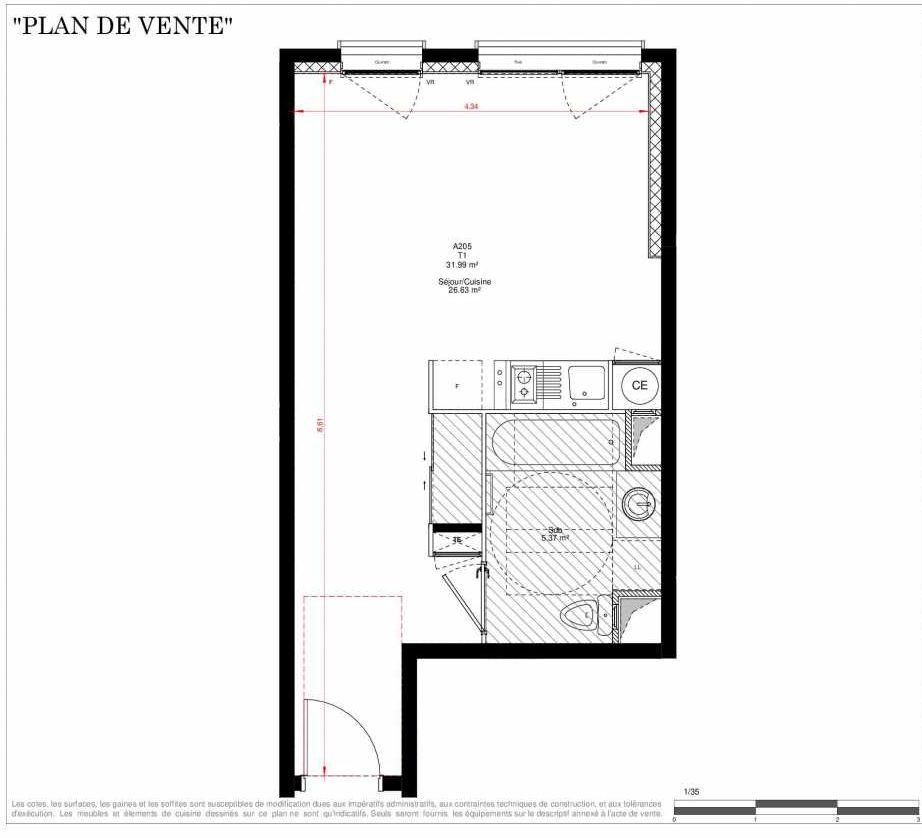 Plan A205, appartement neuf type T1 au 2ème étage, orienté Ouest faisant 32m² du programme neuf LES JARDINS D'ADAM à Villefranche-sur-Saône.
