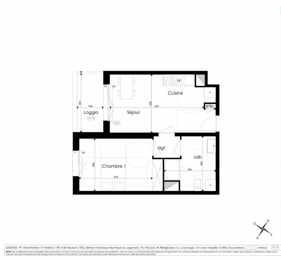 Plan A205, appartement neuf type T2 au 2ème étage, faisant 41m² du programme neuf Les Jardins d'Arc à Amiens.
