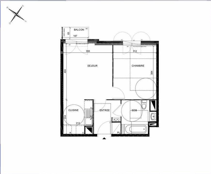 Plan A205, appartement neuf type T2 au 2ème étage, orienté Nord faisant 41m² du programme neuf PASTELS à Villiers-sur-Marne.