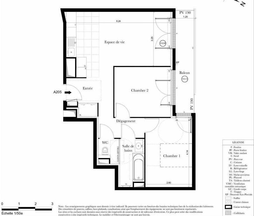 Plan A205, appartement neuf type T3 au 2ème étage, orienté Est faisant 58m² du programme neuf Symbiose à Bezons.