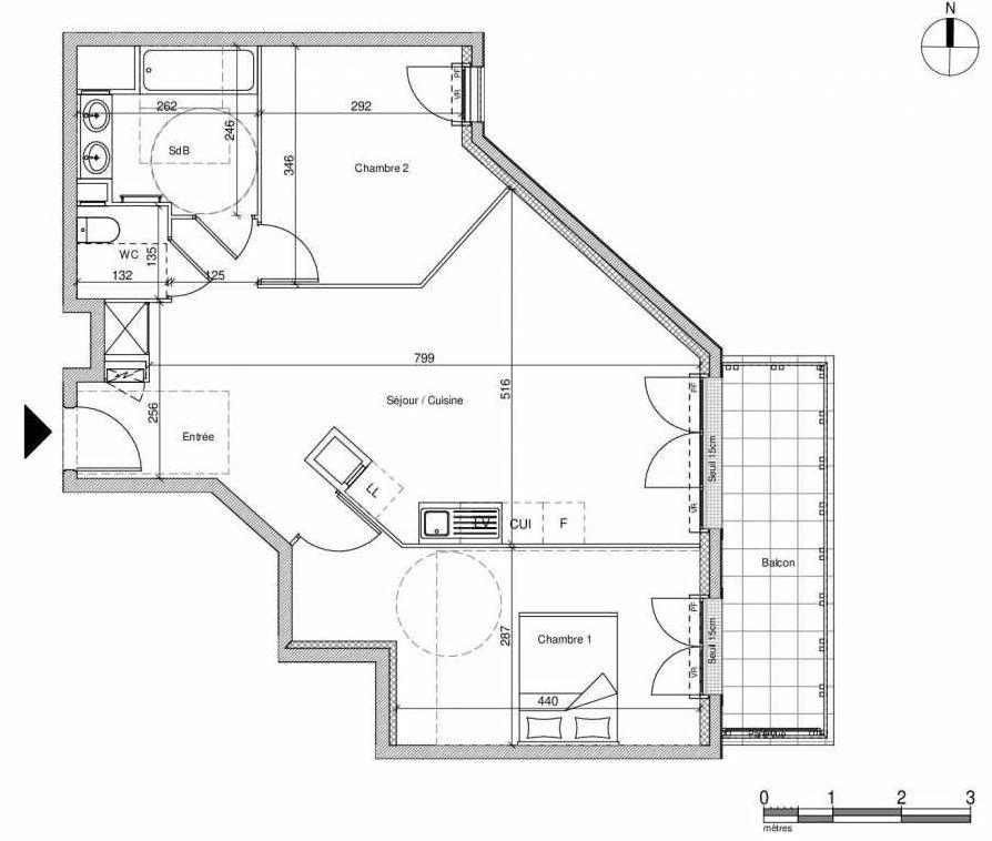 Plan A206, appartement neuf type T3 au Rez de chaussée, faisant 64m² du programme neuf 12 Liberty à Chennevières-sur-Marne.