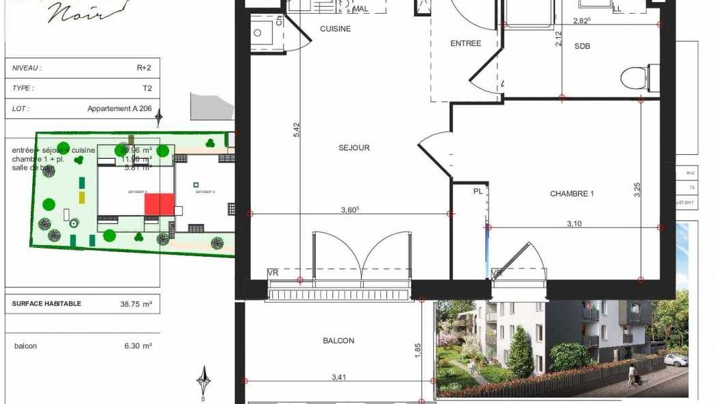 Plan A206, appartement neuf type T2 au 2ème étage, orienté Sud faisant 39m² du programme neuf Le Hussard Noir à Toulouse.
