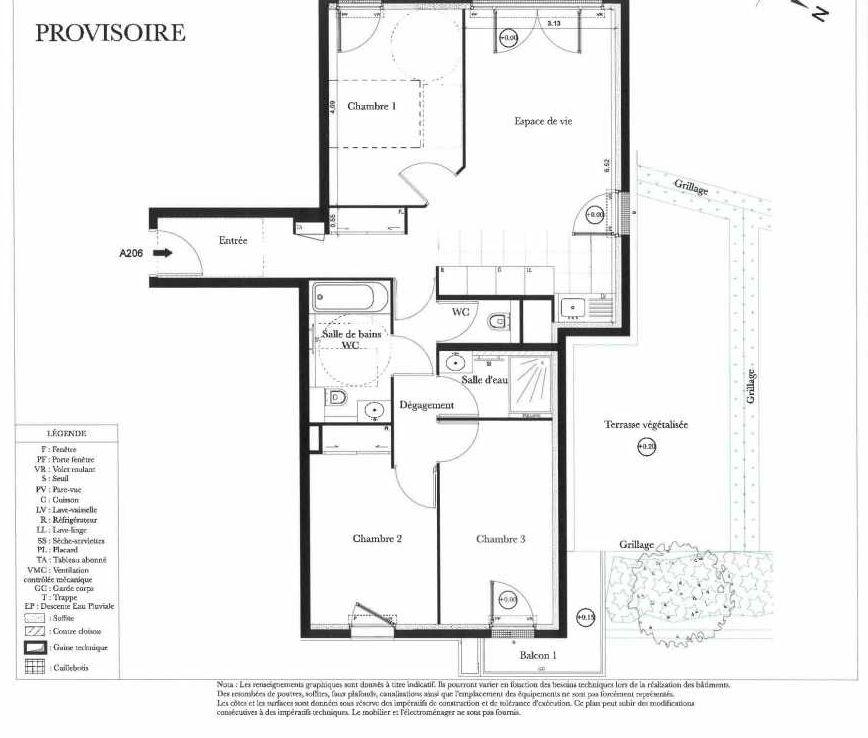 Plan A206, appartement neuf type T4 au 2ème étage, orienté Ouest faisant 73m² du programme neuf Symbiose à Bezons.