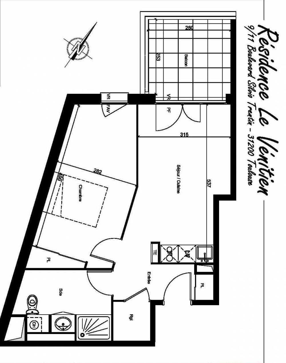 Plan A207, appartement neuf type T2 au 2ème étage, orienté Nord faisant 44m² du programme neuf Le Venitien à Toulouse.