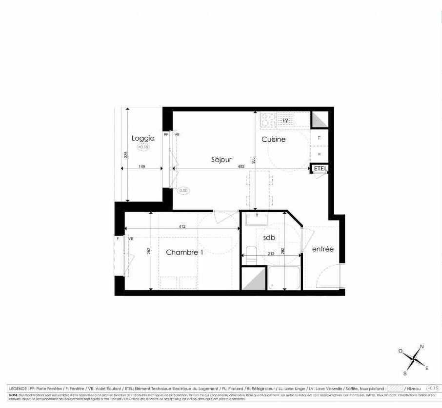 Plan A207, appartement neuf type T2 au 2ème étage, faisant 40m² du programme neuf Les Jardins d'Arc à Amiens.