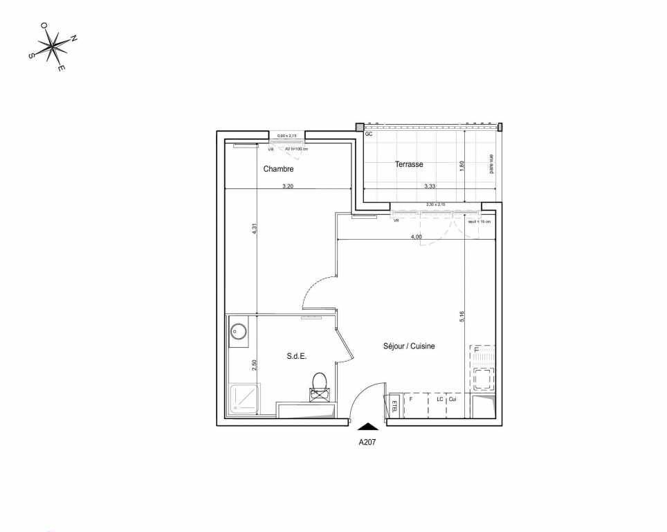 Plan A207, appartement neuf type T2 au 2ème étage, orienté Ouest faisant 39m² du programme neuf LES JARDINS DU CANAL à Arles.