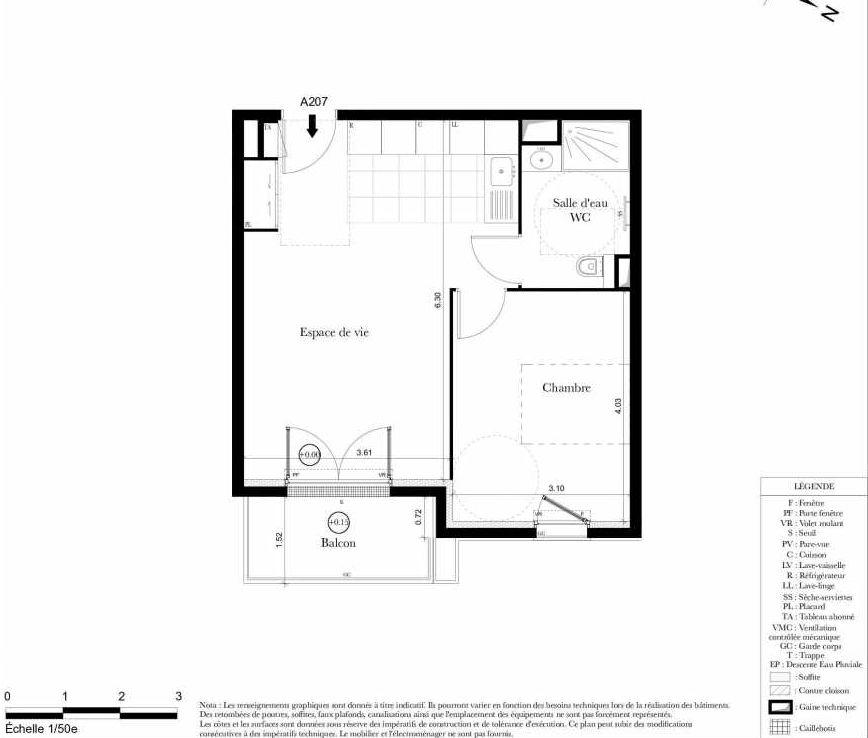 Plan A207, appartement neuf type T2 au 2ème étage, orienté Est faisant 43m² du programme neuf Symbiose à Bezons.