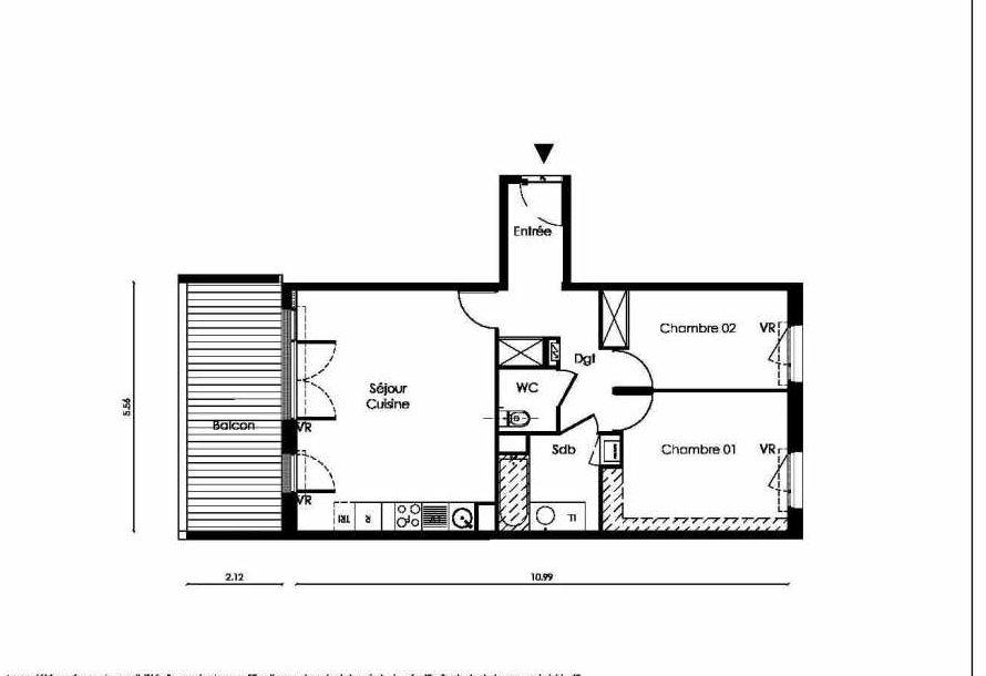 Plan A207, appartement neuf type T3 au 2ème étage, faisant 61m² du programme neuf TOSCANI SIENNE à Saint-Orens-de-Gameville.