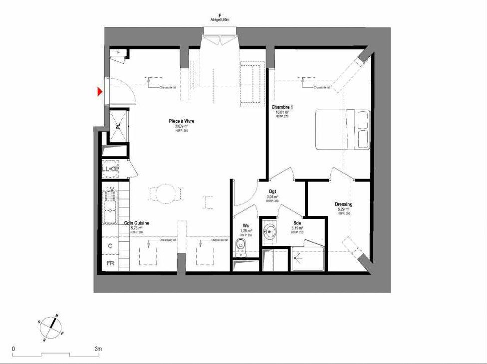 Plan A208, appartement neuf type T2 au 2ème étage, orienté Nord faisant 68m² du programme neuf 1708 à Fontainebleau.