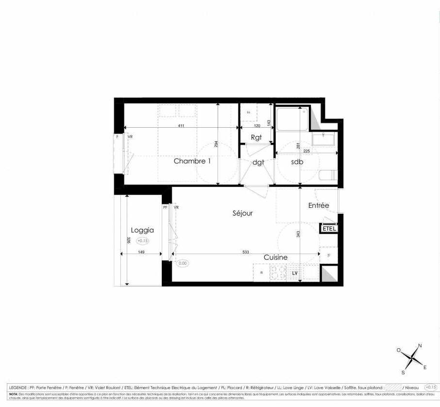 Plan A208, appartement neuf type T2 au 2ème étage, faisant 41m² du programme neuf Les Jardins d'Arc à Amiens.