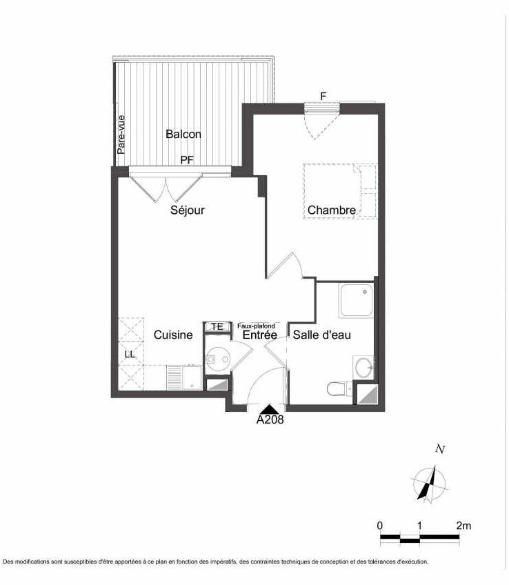 Plan A208, appartement neuf type T2 au 2ème étage, orienté Nord faisant 41m² du programme neuf Les Jardins du Faron à Toulon.
