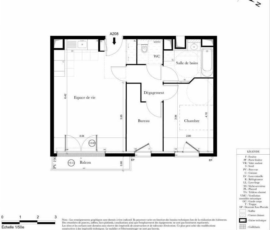 Plan A208, appartement neuf type T2 au 2ème étage, orienté Est faisant 53m² du programme neuf Symbiose à Bezons.
